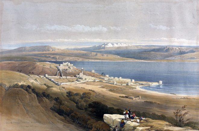 Lake, tiberias, Sea, Ancient, Galilee, Holy, Land, Levante, Israel, Palestine, Bible, Places, David Roberts