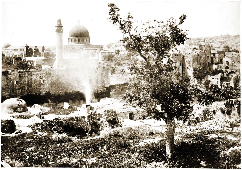 Mosque, Omar, Jerusalem, Palestine, Israel, Francis Frith,