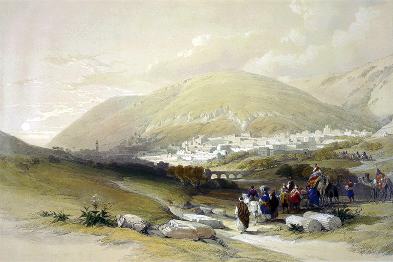 David Roberts, Nablous, Shechem, holy, land, levante, palestine,
