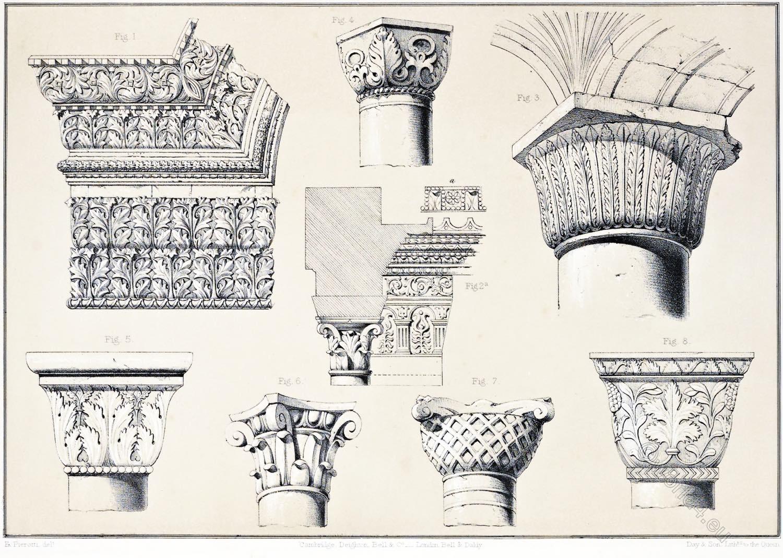 Jerusalem, ornamentation, columns, capital, monolith, Al-Aksa, Golden Gate, Architecture, Holy, Land, Ermete Pierotti,