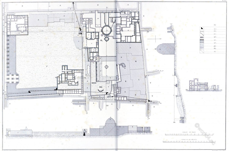 Jerusalem, Plan, section, Church, Resurrection, Hospital, Knights, S. John, Architecture, Holy, Land, Ermete Pierotti, Temple Mount,