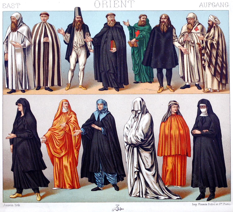 Habit, costume, Orders, monks, nuns, Historical, religious, costumes, Orient, Auguste Racinet