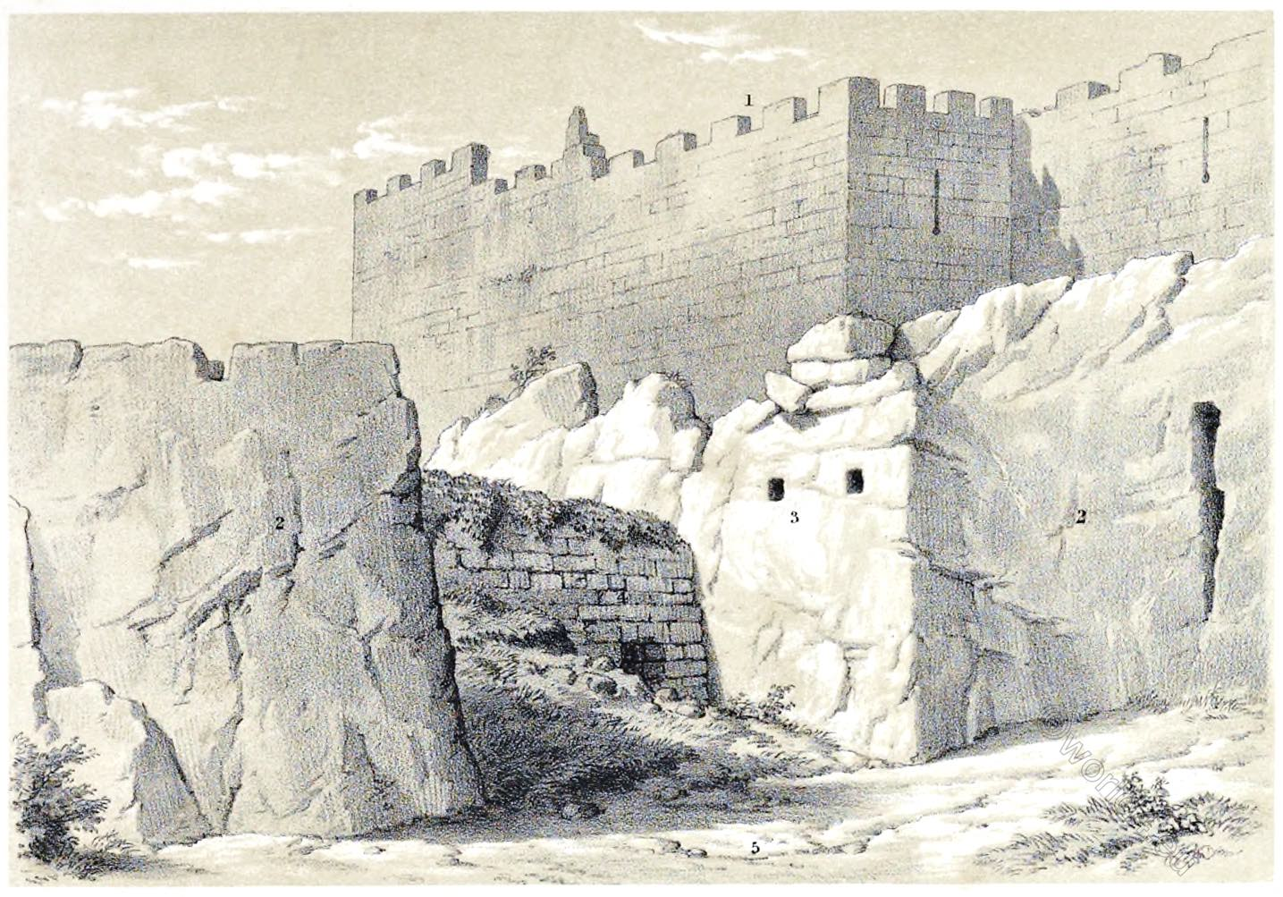 Jerusalem, Royal, Caverns, Architecture, Holy, Land, Ermete Pierotti,