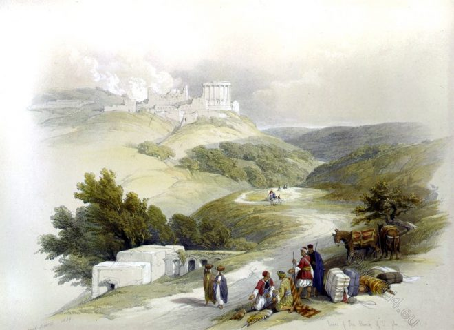David Roberts, Ruins, Church of St. John, Samaria, Sabaste, holy, land, levante, palestine,