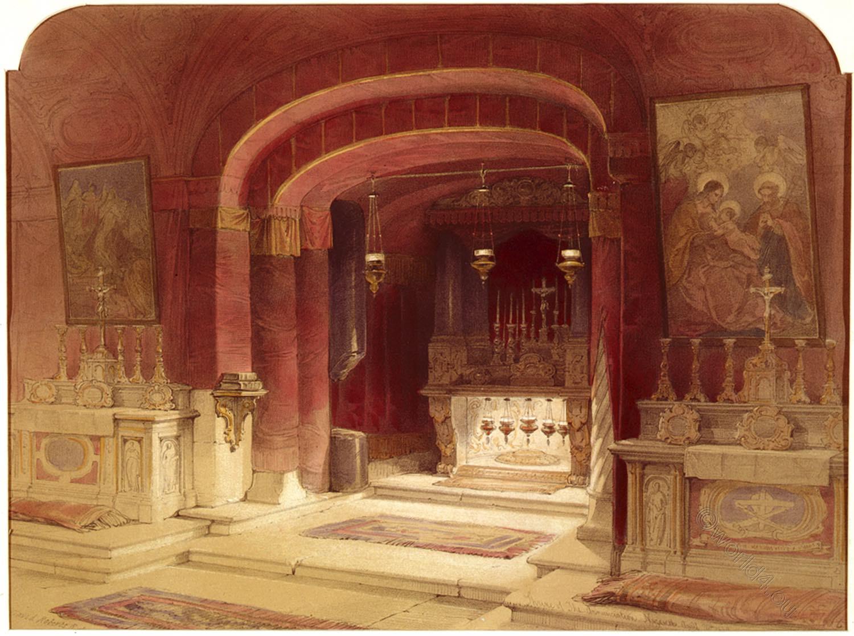 Shrine, Annunciation, Nazareth, Holy, Land, Levante, Israel, Palestine, David Roberts