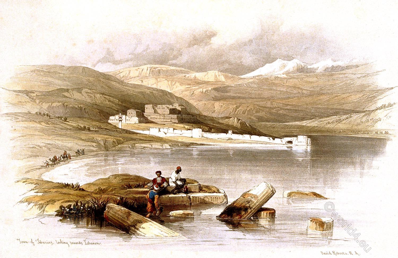 Town, Tiberias, Galilee, Holy, Land, Levante, Israel, Palestine, David Roberts