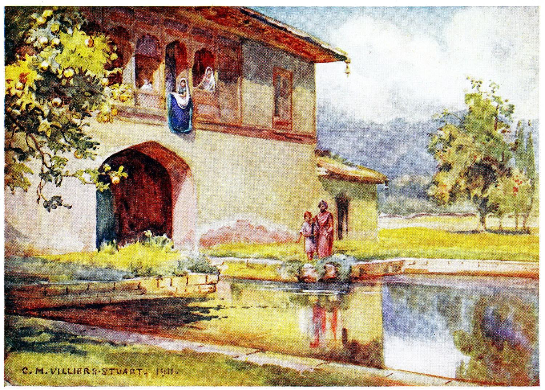Achibal, Bagh, India, Moghul, Garden, Kashmir, Villiers-Stuart,