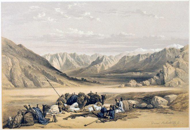 David, Roberts, Mount, Sinai, Travelers, Holy, Land, Palestine,