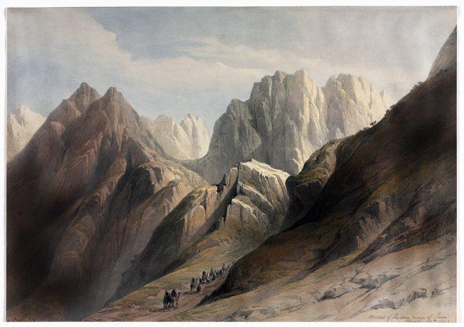 Mount, Sinai, Holy Land, Ascent, David Roberts