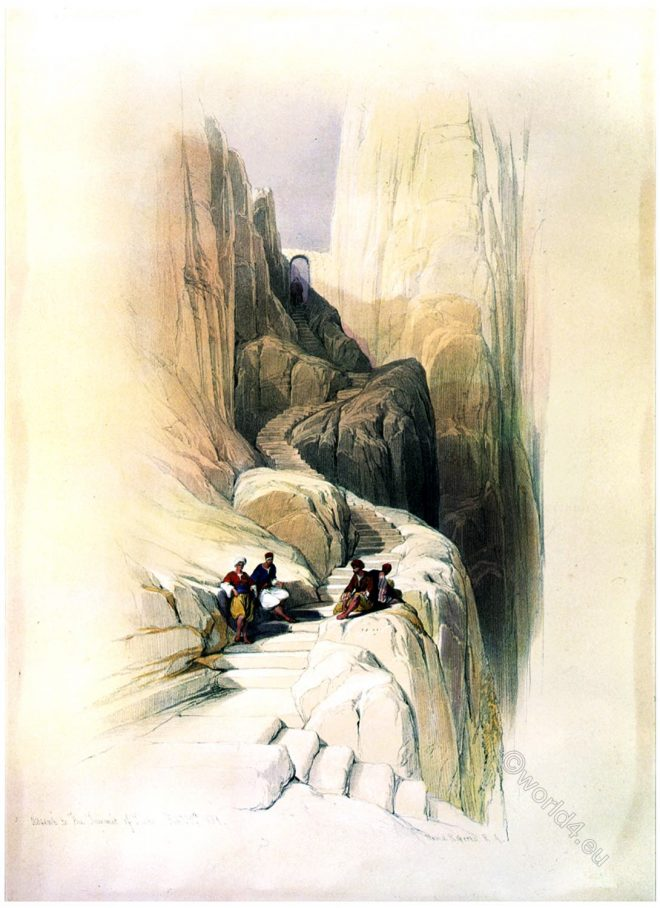 Ascent, summit, Mount, Sinai, holy, land, David Roberts,