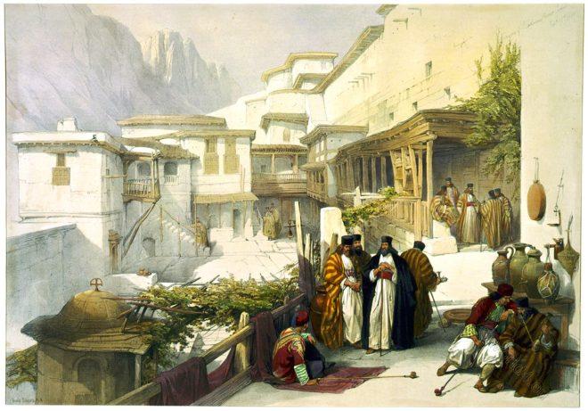 court, convent, monks, Saint, Catherine, Mount, Sinai, David Roberts,