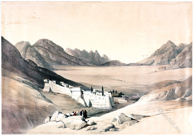 convent, St. Catherine, Mount, Sinai, encampment, holy, land, David Roberts,