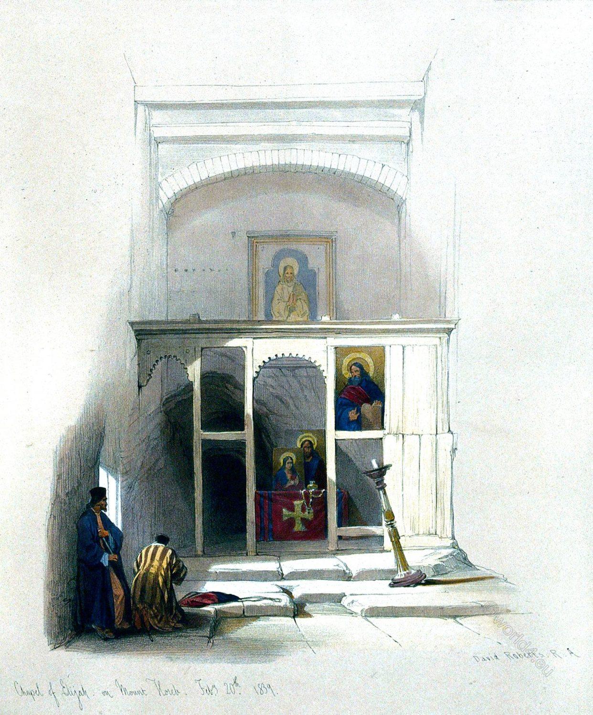 Chapel, Elijah, Mount, Sinai, Worshipper, orthodox, monks,  Holy, Land, David Roberts,