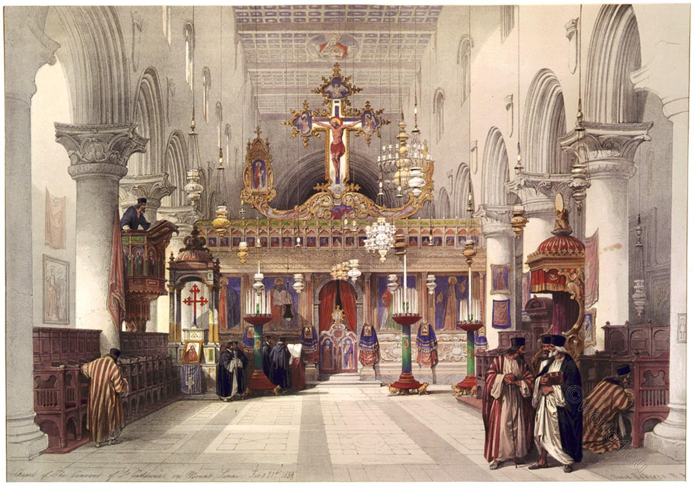 St, Catherine, Interior, Chapel, convent, Holy, Land, Sinai, David Roberts,