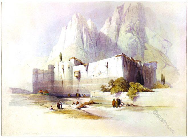 convent, Saint, St, Catherine, Mount, Sinai, David Roberts,