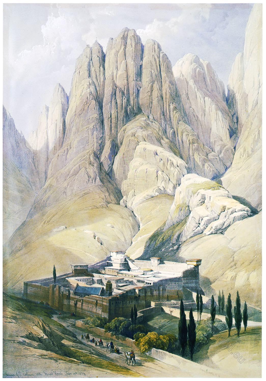 Convent, St. Catherine, Mount, Sinai, Horeb, Holy, Land, David Roberts,