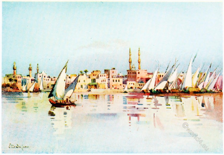 Damietta,  Egypt, Ella, du, Cane, painting,