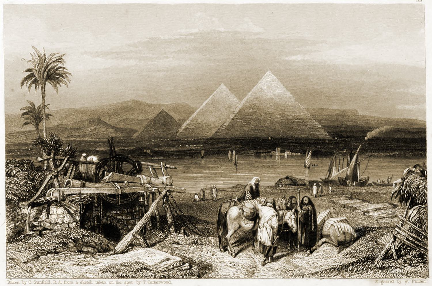 Egypt, Nile, Pyramids, Ghizeh, Landscape, Illustrations, Bible, W. Finden, Harding,