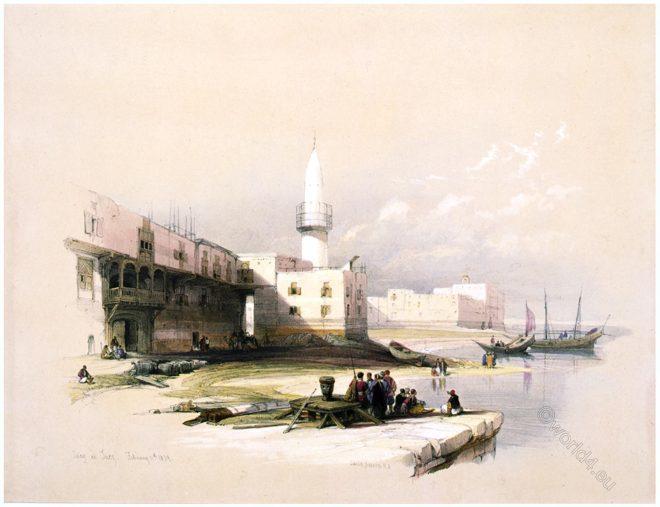 David, Roberts, Quay, Suez, Egypt, Holy, Land, Palestine,