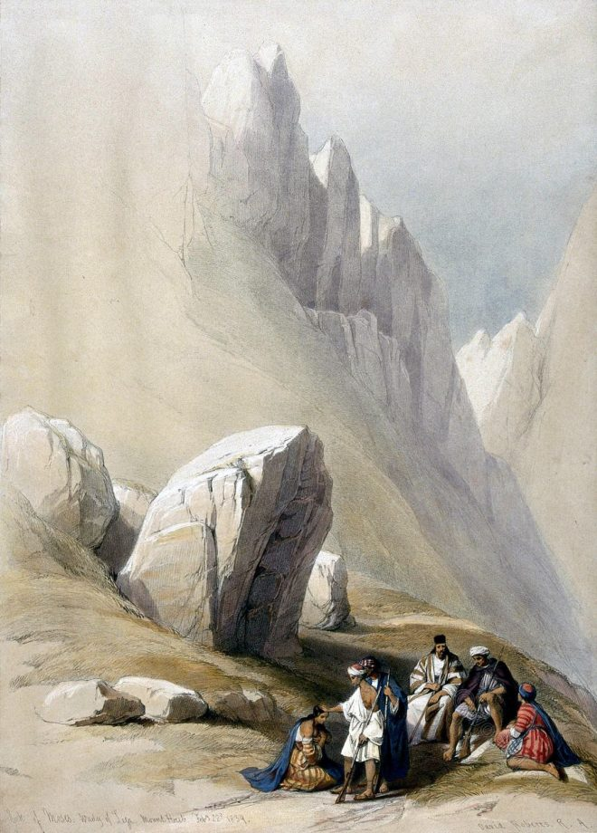 Rock, Moses, Wady, Leja,Mount, Horeb, Sinai, David Roberts,