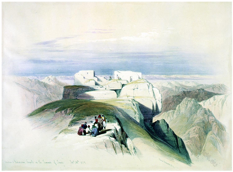 Mount, Sinai, Holy Land, Summit, Chapels, David Roberts